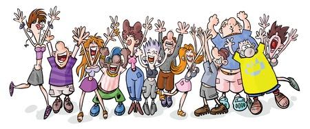 Photo pour Funny party people cartoon illustration  - image libre de droit