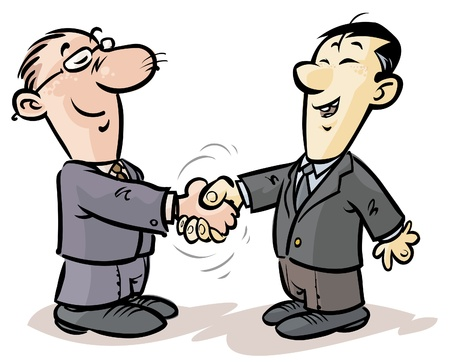 Illustration pour 	Handshake of businessmen from different nationalities  - image libre de droit