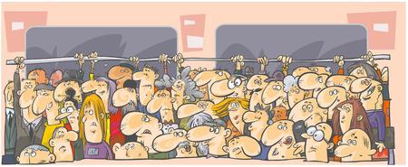 Illustration pour Crowd of people in the public transport  - image libre de droit