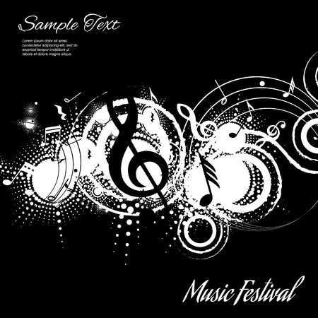 Illustration pour abstract musical composition on black background with space for text, vector illustration - image libre de droit