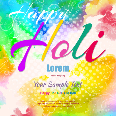 Ilustración de Happy Holi, a spring festival of colors, vector illustration - Imagen libre de derechos