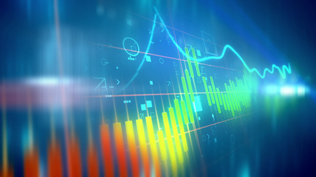Foto de 3d illustration of a colorful business line chart presented diagonally with a choppy index having soaring and plummeting periods in the blue background. The chart bars are orange, yellow and blue. - Imagen libre de derechos