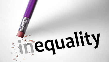 Photo for Eraser changing the word inequality for equality  - Royalty Free Image