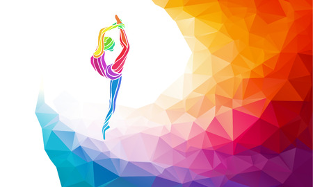 Ilustración de Creative silhouette of gymnastic girl. Art gymnastics, colorful illustration with background or template in trendy abstract colorful polygon style and rainbow back - Imagen libre de derechos