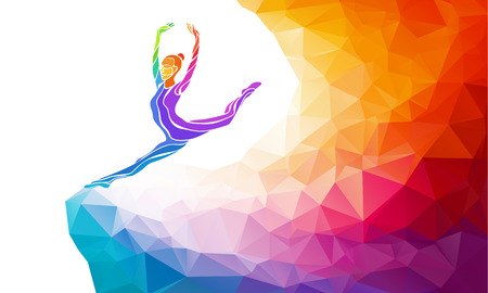 Illustration for Creative silhouette of gymnastic girl. Art gymnastics, colorful illustration with background or template in trendy abstract colorful polygon style and rainbow back - Royalty Free Image