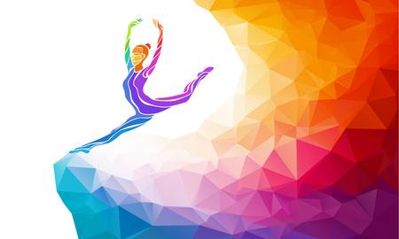 Ilustración de Creative silhouette of gymnastic girl. Art gymnastics, colorful illustration with background or template in trendy abstract colorful polygon style and rainbow back - Imagen libre de derechos