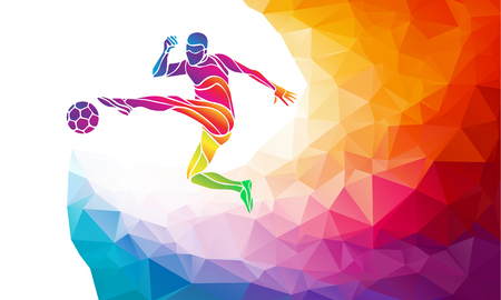 Ilustración de Creative soccer player. Football player kicks the ball, colorful vector illustration with background or banner template in trendy abstract colorful polygon style and rainbow back - Imagen libre de derechos