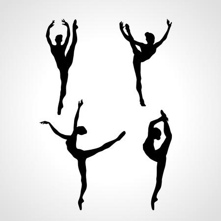 Illustration pour Creative silhouettes of 4 gymnastic girl. Art gymnastics or ballet dancing women, black and white vector illustration - image libre de droit