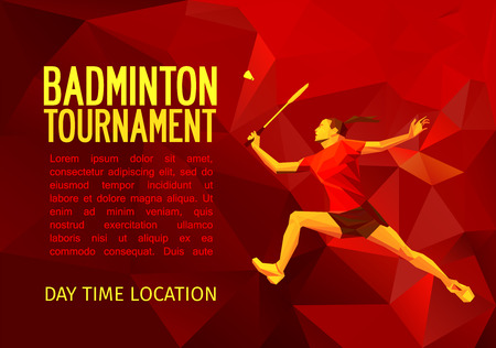 Unusual colorful triangle shape: Geometric polygonal professional female badminton player, pattern design, vector illustration with empty space for poster, banner, web. Shades of red background.