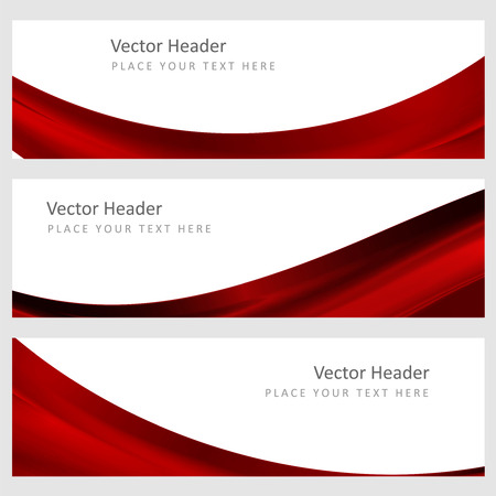 Illustration pour Set abstract banners with smooth shiny red waves - image libre de droit