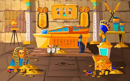 Illustrazione per Ancient Egypt tomb of pharaoh cartoons vector illustration. Egyptian pyramid interior with golden sarcophagus, hieroglyphs and mural, scarab beetles, ritual vases and other religious symbols, treasure - Immagini Royalty Free