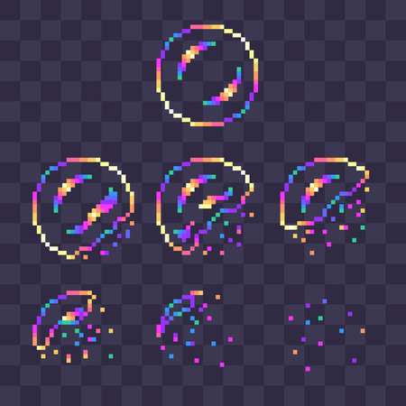 Ilustración de Pixel art rainbow soap bubble burst sprites for animation. - Imagen libre de derechos