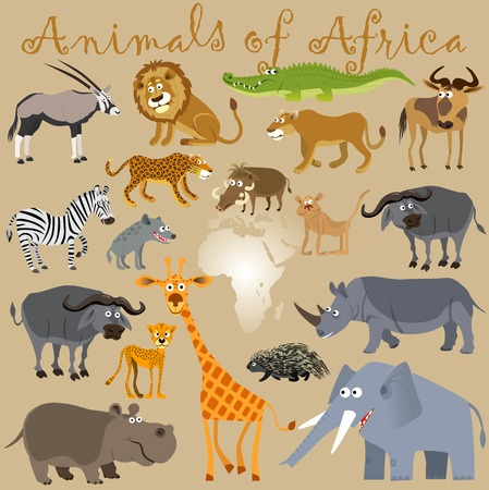 Illustration pour Funny wild animals of Africa. Vector illustration - image libre de droit