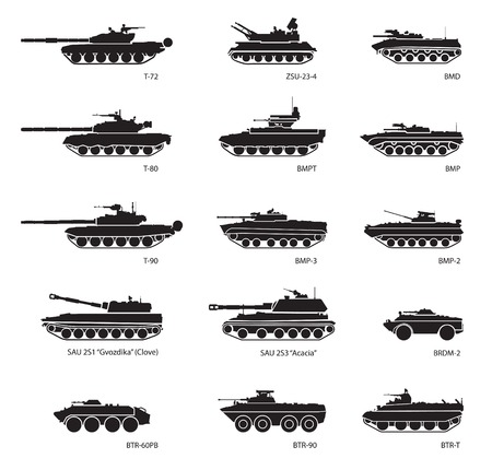 Photo pour Stylized images of armored vehicles for military infographics. Vector illustration - image libre de droit