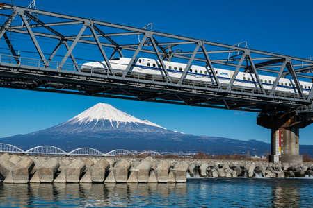 Mt. Fuji and Japanese train, Shinkansen