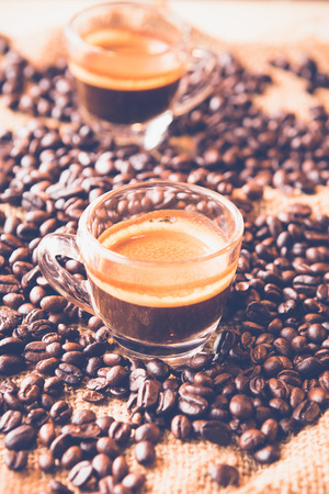 Espresso with Coffee Beans , vintage color tone