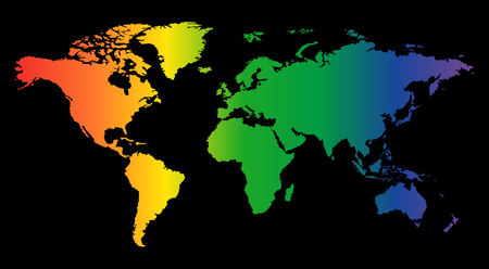 Illustration pour Colorful world map isolated on black background. World vector illustration. - image libre de droit