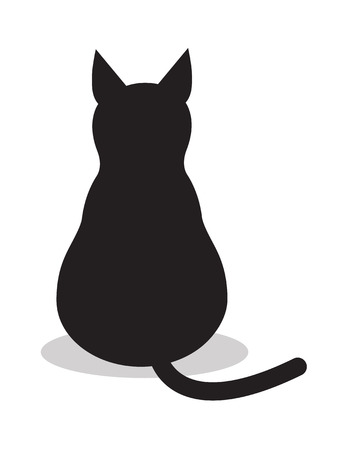 Ilustración de Black isolated cat, icon vector. Illustration background sign animal . - Imagen libre de derechos