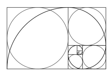 Illustration pour Minimalistic style design. Golden ratio. Geometric shapes. Circles in golden proportion. Futuristic design. - image libre de droit