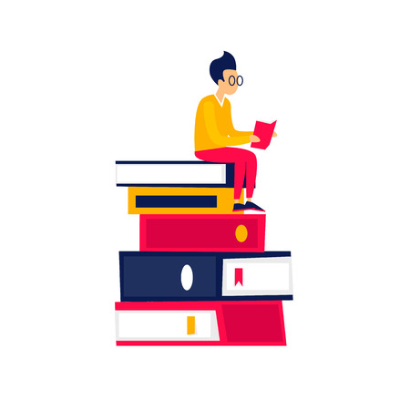 Illustrazione per Library guy sits on books and reads. Flat design vector illustration. - Immagini Royalty Free