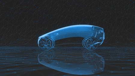 Foto de x-ray car on a dark low poly background. 3d rendering - Imagen libre de derechos