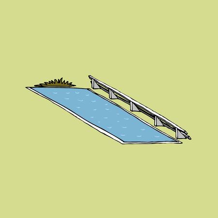 Ilustración de Obstacle water jump vector - Imagen libre de derechos