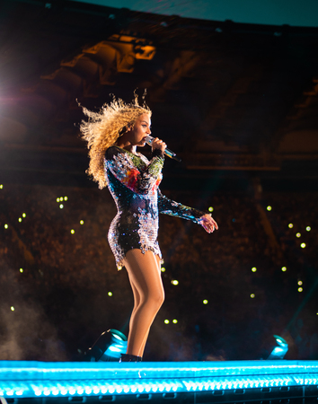 Photo for Rome Italy, 8 July 2018 , Live concert of Beyonce and Jay-Z OTRII at the Olimpico Stadium : the singer Beyonce during the concert. - Royalty Free Image