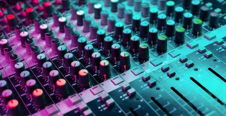 Photo for Close up of sound mixing console. Details of sound engineer room. Neon light - Royalty Free Image