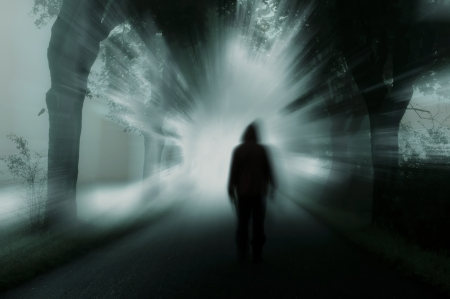 Photo for silhouette of man in dark atmosphere - Royalty Free Image