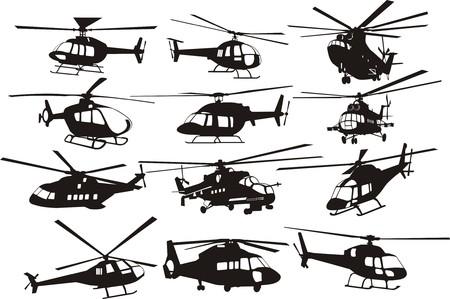 Illustration pour helicopter silhouettes set - image libre de droit