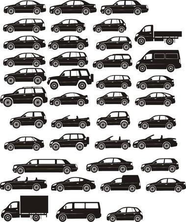 Illustration pour car silhouettes - image libre de droit