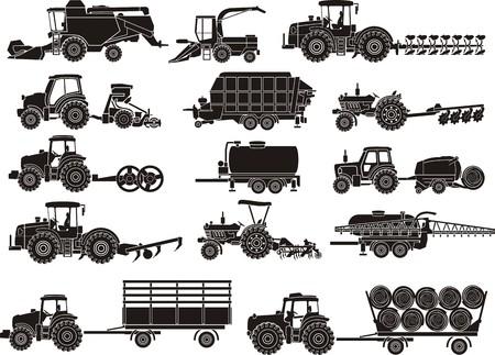 Illustration pour agricultural machine silhouettes set - image libre de droit