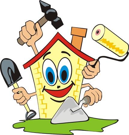 Ilustración de cartoon house does repair work - Imagen libre de derechos