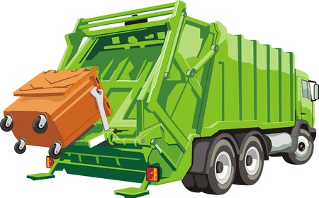 Illustrazione per truck for assembling and transportation garbage - Immagini Royalty Free