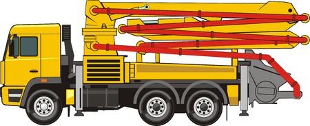 Illustration pour Concrete pump on the truck chassis - image libre de droit