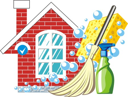 Illustration for house clean sign - Royalty Free Image