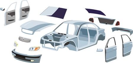 Ilustración de car trim and external outboard details on it - Imagen libre de derechos