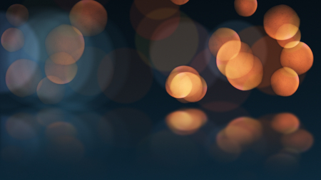 Photo for bokeh or defocus orange particles and reflection. abstract background. - Royalty Free Image