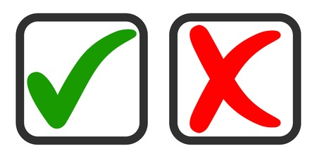 Illustration pour Icons yes and no, voting for and against, vector green tick and red cross in the voting square, Questionnaire selection symbols - image libre de droit