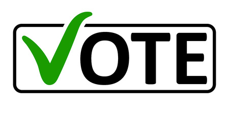 Illustration pour word Vote with a green check mark instead of the letter V in the box frame, vector the concept of elections the referendum the electorate, vote in a box. - image libre de droit