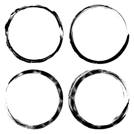 Ilustración de Set brush strokes paint circles. Ink hand-drawn paint brush circle. label design element vector illustration, black abstract circle frame, coffee Cup footprint - Imagen libre de derechos