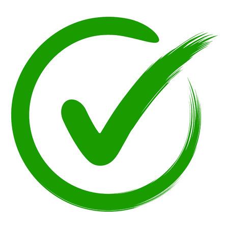 Ilustración de approval symbol is a check mark in a circle, drawn by hand, vector green sign OK approval or development checklist. personal choice mark - Imagen libre de derechos