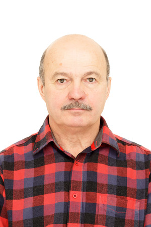 Photo for Elderly old man  with mustache, bald man in plaid shirt - Royalty Free Image