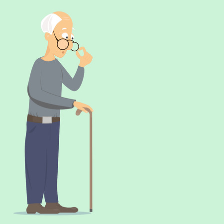 Illustration for old man corrects glasses and leans on his stick, thinking about everyday problems - Royalty Free Image