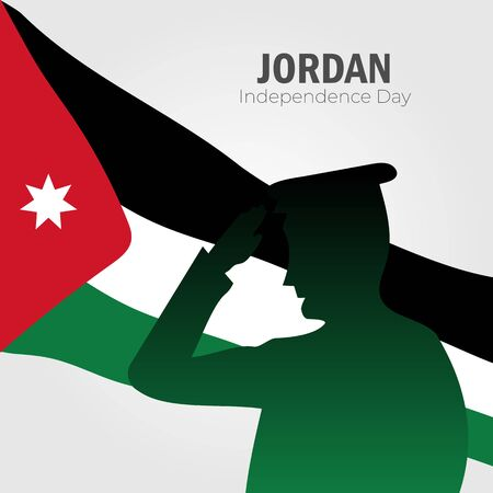 Illustration pour Vector illustration of Happy Jordan Independence Day 25 May. Can used for greeting card, banner, poster, flyer, card. - image libre de droit