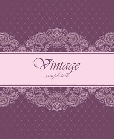 Photo pour Elegant vintage invitation with floral pattern       - image libre de droit