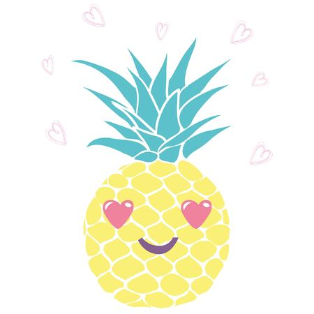Ilustración de Pineapple with glasses tropical, vector, illustration, design, exotic, food, fruit - Imagen libre de derechos