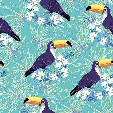 Illustration for Seamless tropical pattern with Toucan. Vector summer background - Royalty Free Image