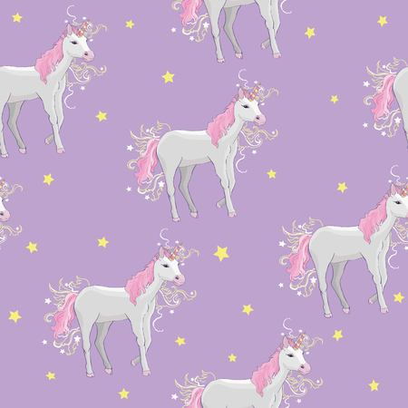 Ilustración de Unicorn and rainbow seamless pattern isolated on white background, animal, wand, princess, balloon, cloud, crown, diamond, fairytale, hand, drawn, abstract, card character decor doodle lovely magical sweet head horn beautiful - Imagen libre de derechos