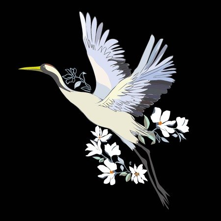 Illustration pour Vector of illustrations bird crane. White stork . isolated object - image libre de droit